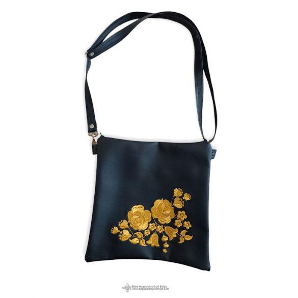 Embroidered shoulder bag in black and gold