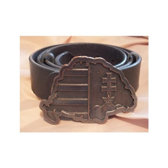 Leather belt with buckle representing Great Hungary.