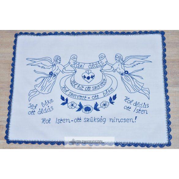 Hímzett Házi áldás falvédő, kék