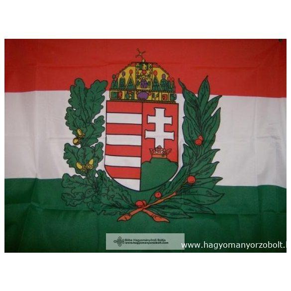 Nemzeti színű koszorús címeres nyomott mintás zászló