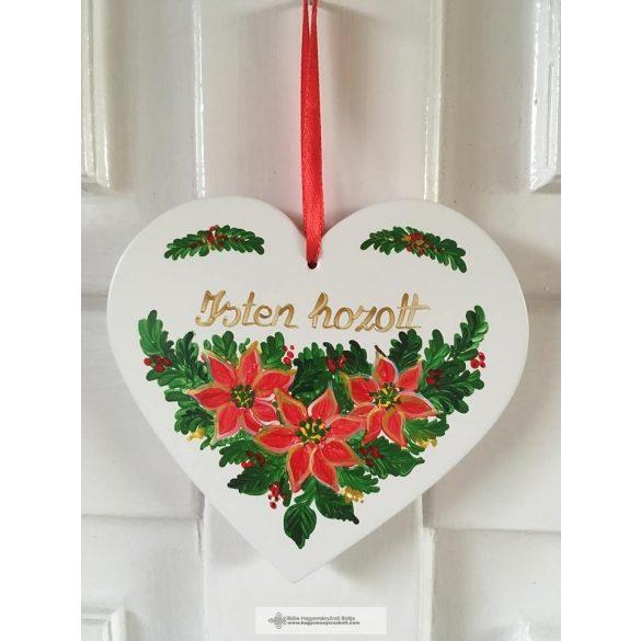 Festett karácsonyi ajtódísz, fehér