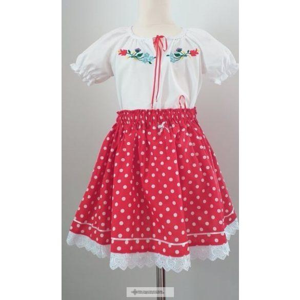 Kislány ruha együttes, hímzett blúzzal, pöttyös szoknyával