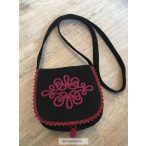 Black women's bag with bordeaux decoration.