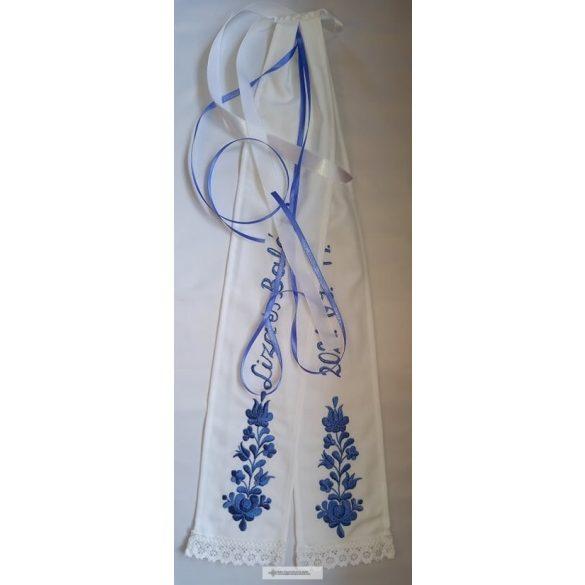 Vőfélyszalag-kék hímzéssel