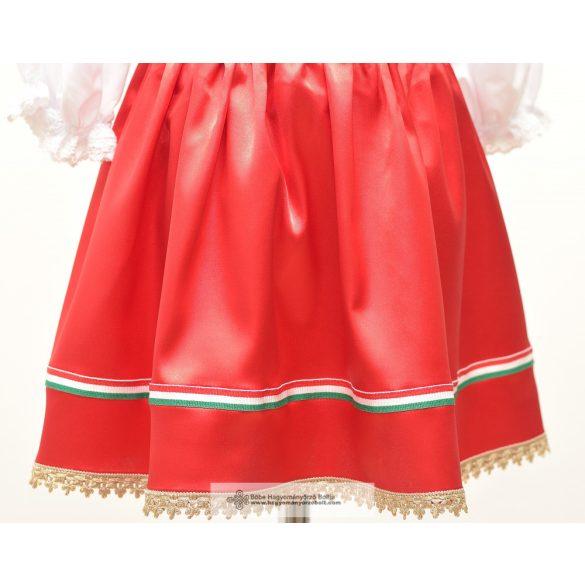 Kislány szoknya-piros, nemzeti szalagos
