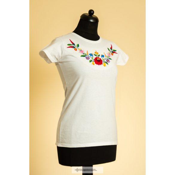 Hímzett póló, fehér