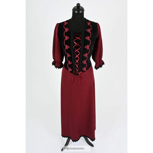 Női ruha-bordó-fekete