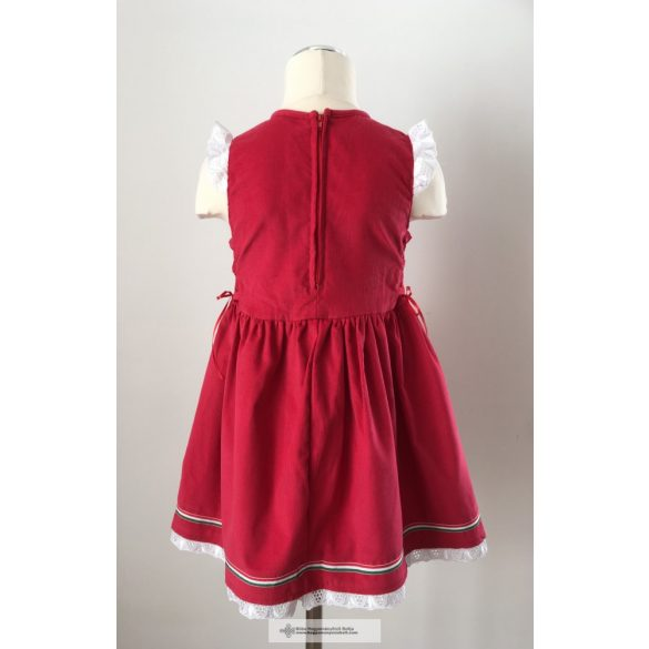 Embroidered, red dress girl