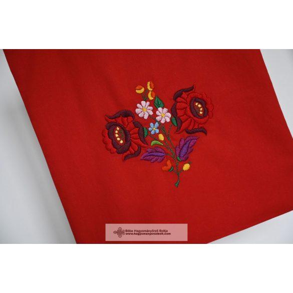 Hímzett vászontáska-piros
