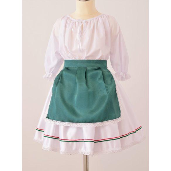 Kislány ruha együttes, nemzeti  szalagos szoknyával
