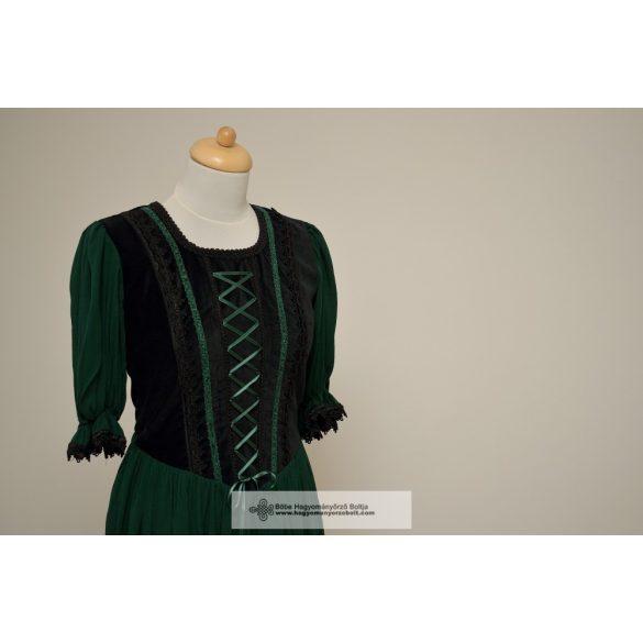 Női ruha-sötétzöld-csipkés