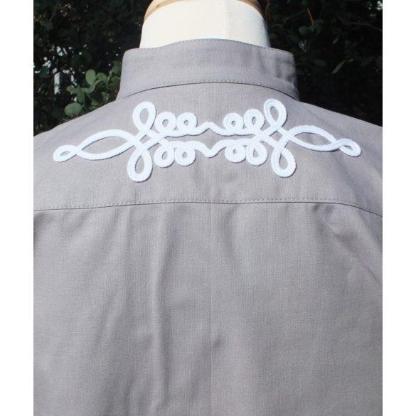 Szürke bocskai ing, rövid ujjú