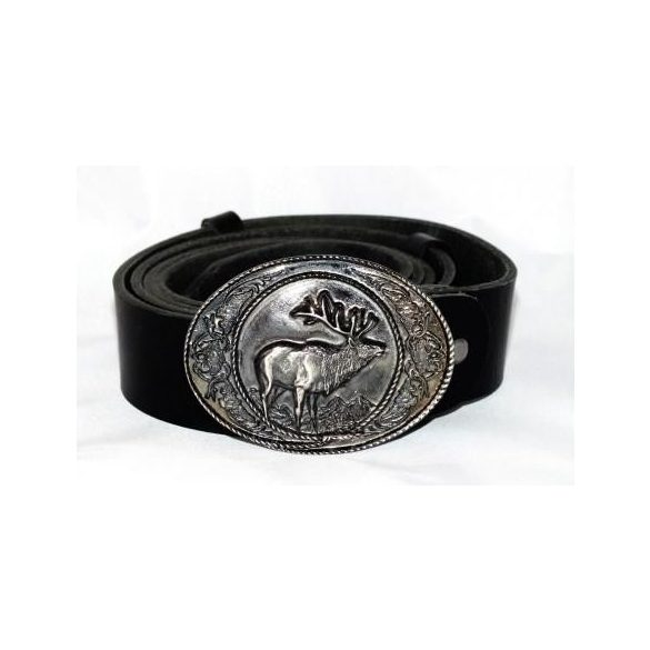Leather belt with deer buckle