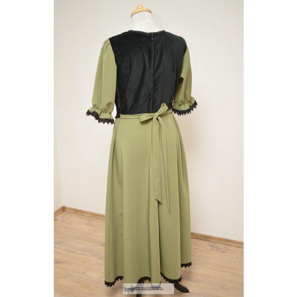 Női ruha-világos zöld-zsinóros
