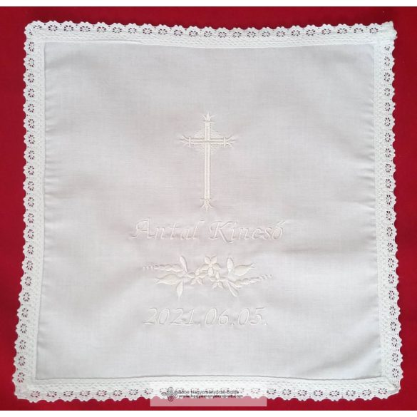 Keresztelő kendő -hófehér