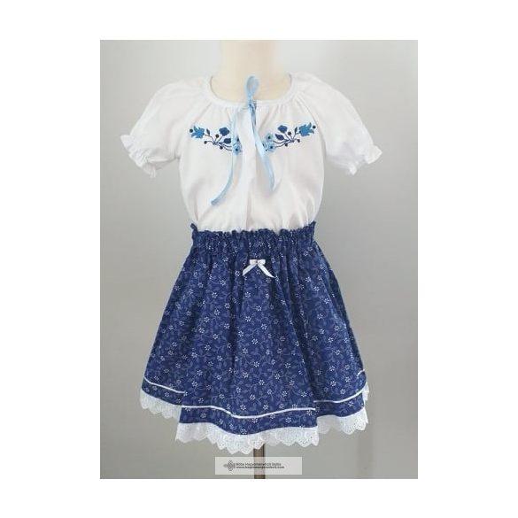 Kislány ruha együttes, hímzett blúzzal, kék