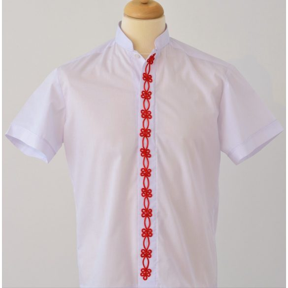 Zsinóros díszítésű férfi ing- piros