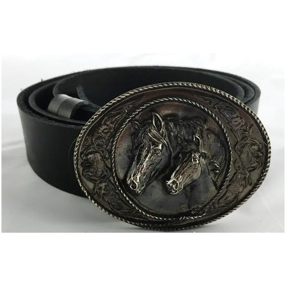 "Leather belt with ""horseshoes"" buckle"