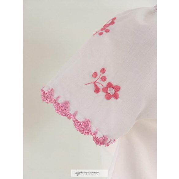 Kislány blúz-Hímzett, rózsaszín hímzéssel