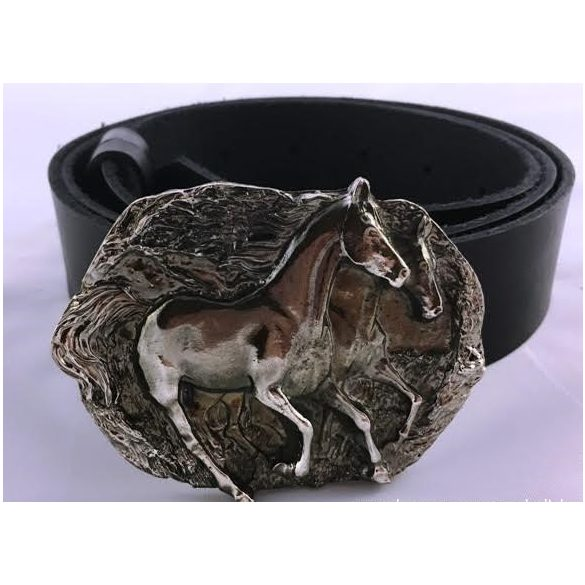 """Leather belt with """"Hunting horses"""" buckle"""