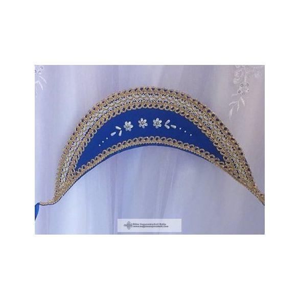 Kék párta, arany színű csipkével