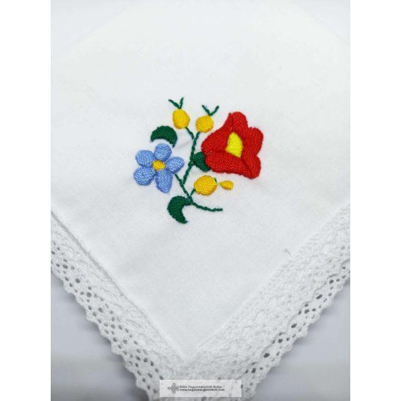 Taschentuch gestickt, Blume