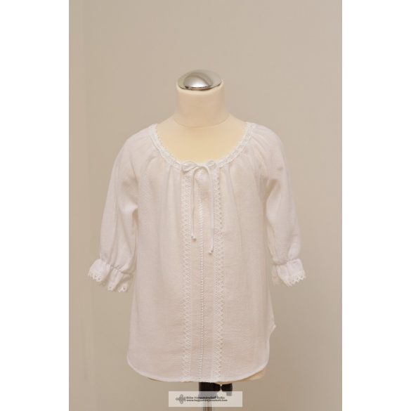 Hungarian White girl blouse, decorated with white lace